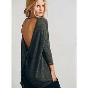 Free People Shadows Hacci Twist Back Sweater/Top